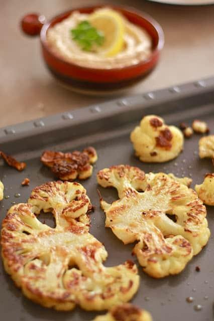 Roasted Cauliflower with Tahini Lemon Sauce|Wandering Spice