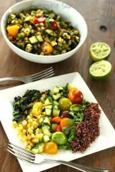 Warm Zucchini-Quinoa Salad with Blistered Corn and Poblanos