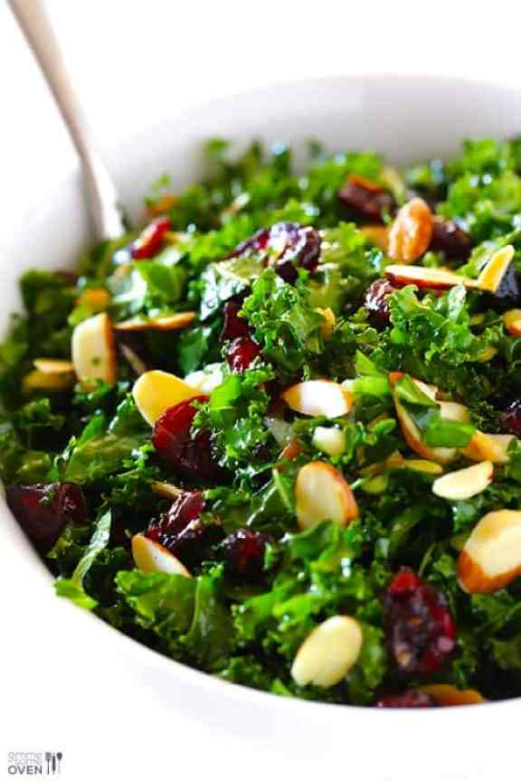 Kale Salad with Warm Cranberry Vinaigrette|Gimme Some Oven