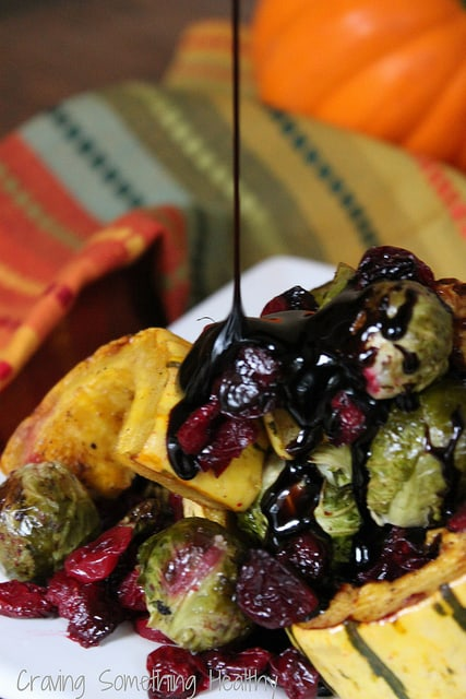 Roasted Brussels Sprouts Delicata Squash and Cranberries w Balsamic Syrup|Craving Something Healthy