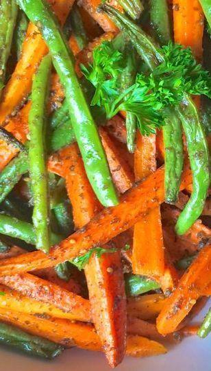 Za'atar Roasted Carrots and Green Beans|The Lemon Bowl
