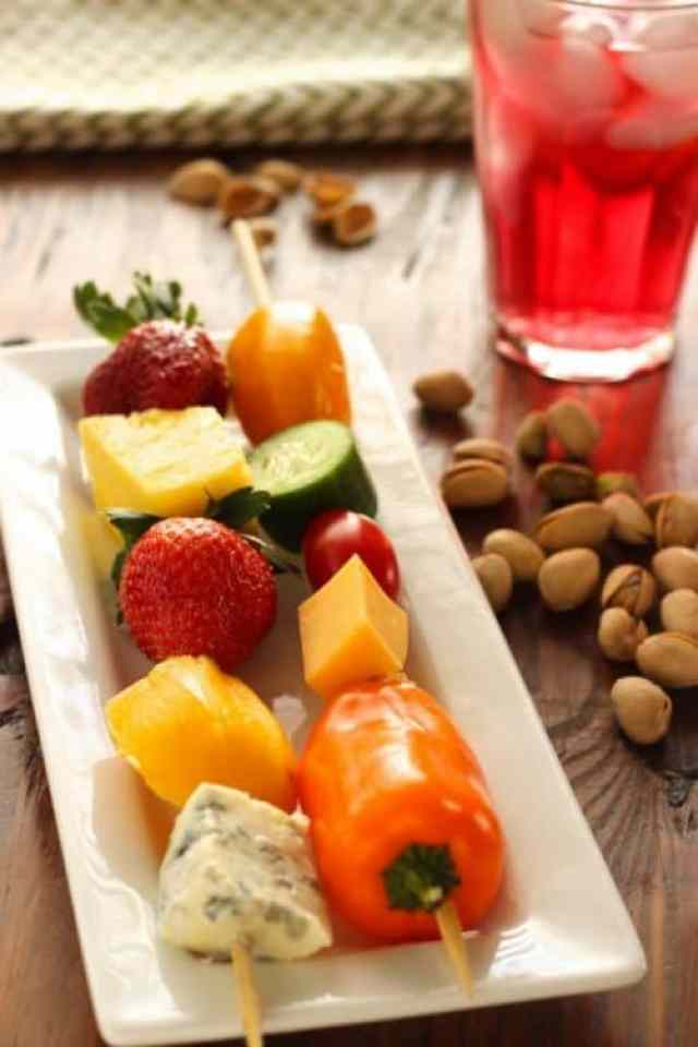 Fruit, Vegetable and Cheese Skewers with Pistachios Craving Something Healthy