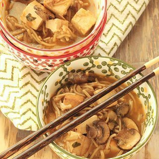 Miso Noodle Bowls With Tofu and Mushrooms