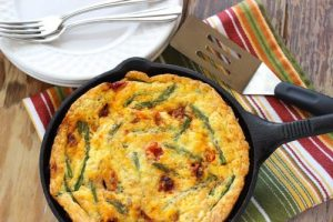 Rice Frittata with Caramelized Tomatoes & Asparagus