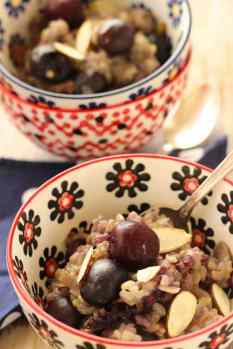 Cherry Almond Breakfast Risotto|Craving Something Healthy