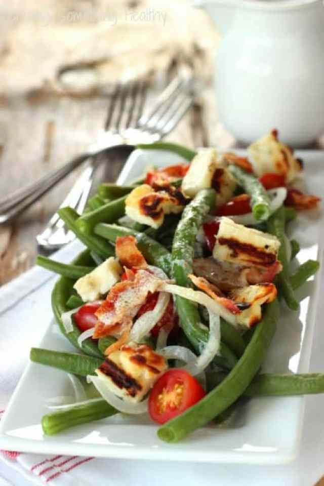 Green Bean Tomato Salad with Grilled Halloumi|Craving Something Healthy
