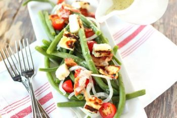 Green Bean & Tomato Salad with Grilled Halloumi|Craving Something Healthy