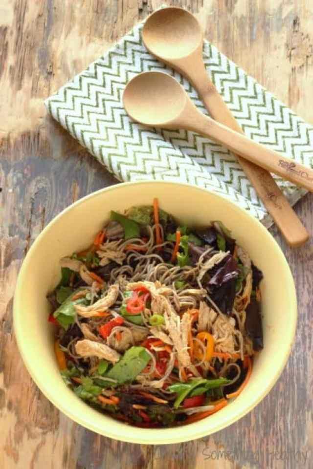 Summer Slow Cooker Asian Chicken Salad Bowls