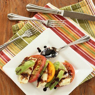 Heirloom Tomato, Avocado and Grilled Halloumi Caprese Salad