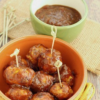 Mini Turkey Meatballs with Curried Cranberry Sauce