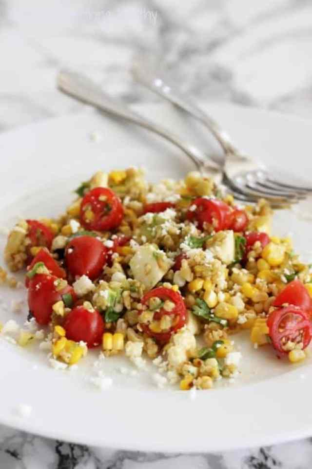 Freekeh-licious Grilled Corn and Tomato Salad|Craving Something Healthy