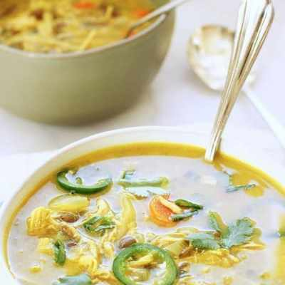 Coconut Curry Chicken and Lentil Soup