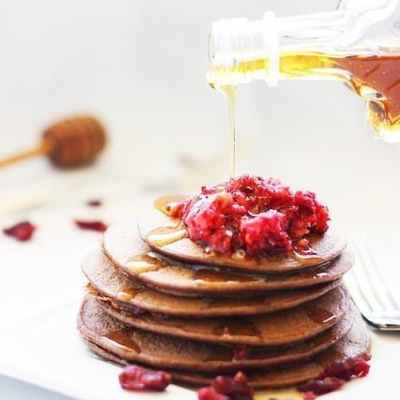Dark Chocolate Cranberry Protein Pancakes