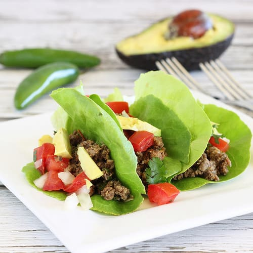 Lean Ground Beef and Mushroom Lettuce Tacos|Craving Something Healthy