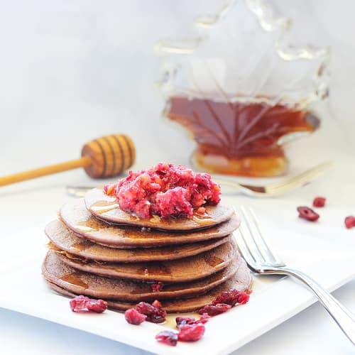 Dark Chocolate Cranberry Protein Pancakes|Craving Something Healthy