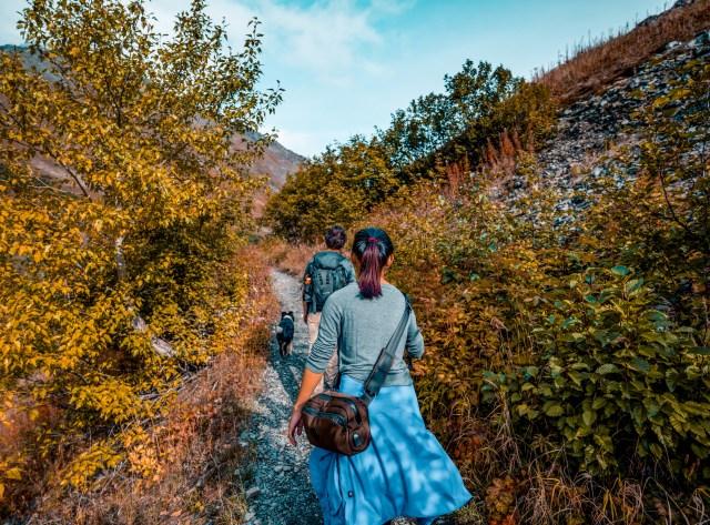 Kat exploring Crow's Pass in Alaska with Into the Woods Alaska