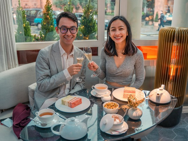 Alex and Kat at the Jean-Georges at The Connaught for Christmas Afternoon Tea in London (2020)