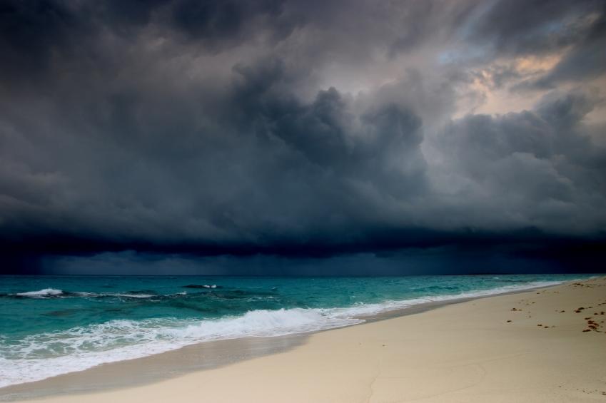 storm approaching beach