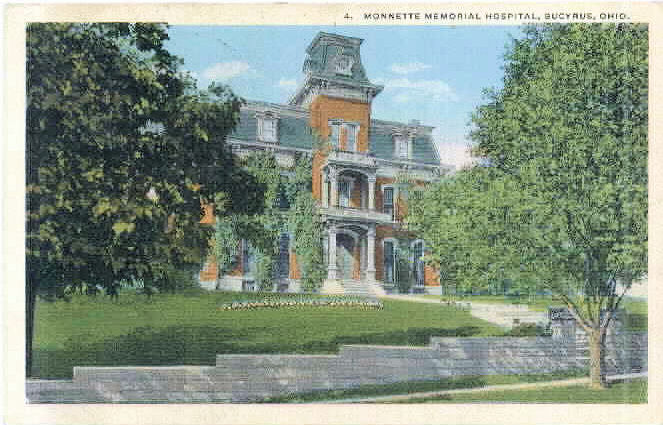 View dated 1918 of the Monnette Memorial Hospital on North Sandusky aka Finley Hill.