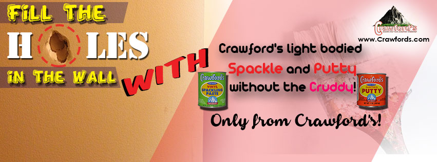 Fill the holes in the wall with Crawford's light bodied Spackle, and Putty without the Cruddy!