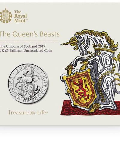 2017 The Unicorn of Scotland UK £5 BU Coin
