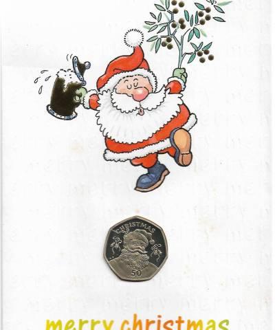 1992 Gibraltar 50p Christmas Card