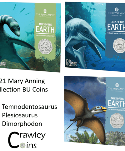 2021 Mary Anning 50p Full BU Collection