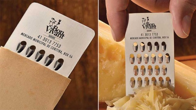 Ad agency JWT designed this awesome cheese grater business card design for Bon Vivant