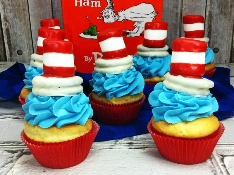 Cat In The Hat Cupcake Recipe For Dr Seuss Day Party