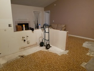 These will be the peninsula with new cabinets, the sink, and granite countertops.
