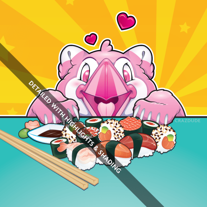 Sugarloaf loves Sushi - Detailed Illustration