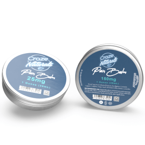 A container of Medicated CBD Pain Balm by Craze Naturals