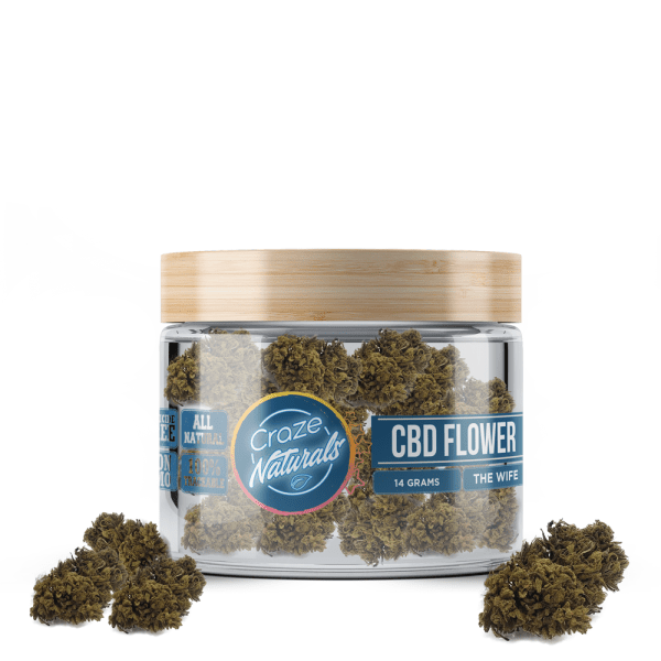 A jar of The Wife CBD Flower by Craze Naturals