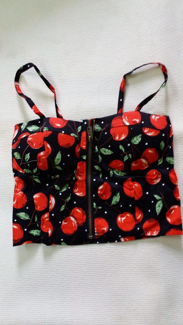 % red cherry black crop top