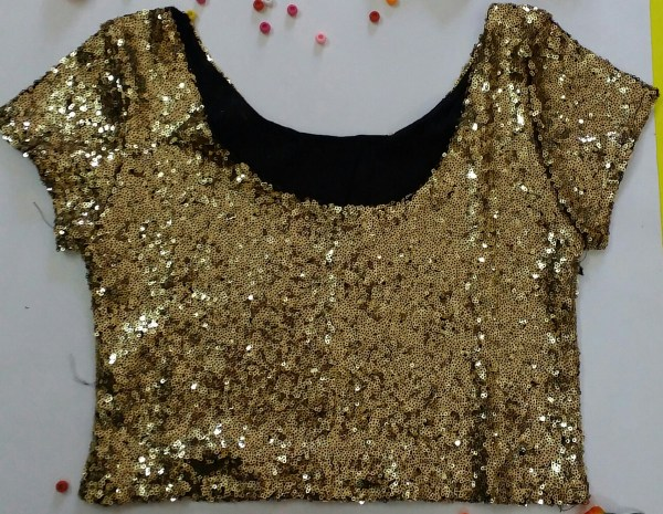 %craziya gold sequin crop top