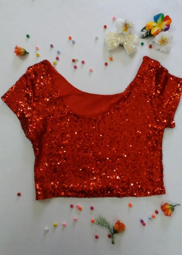 %Red sequin crop top