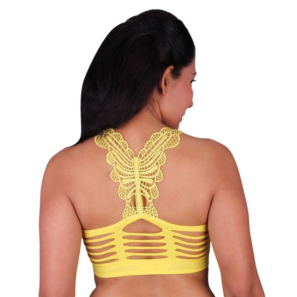 %butterfly yellow rugged bralette