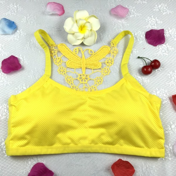 %butterfly caged yellow bra
