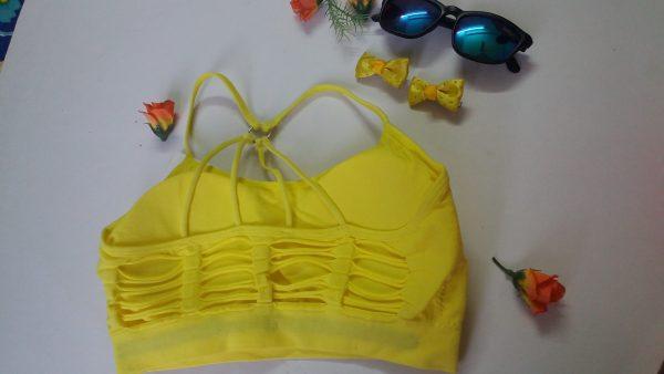 %rugged pyramid style racer yellow bra