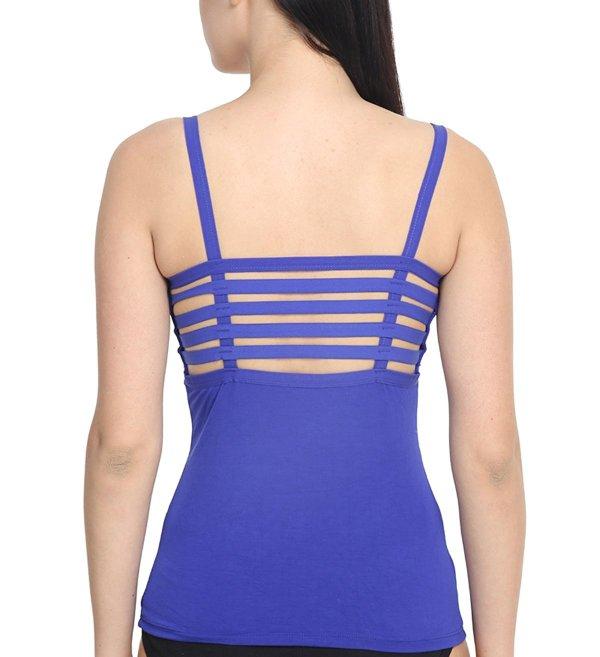 %back string cage blue top