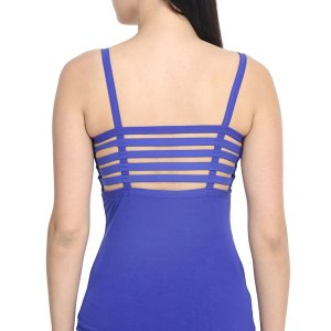 %back string cage blue top
