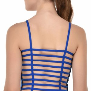 %ten straps blue caged top