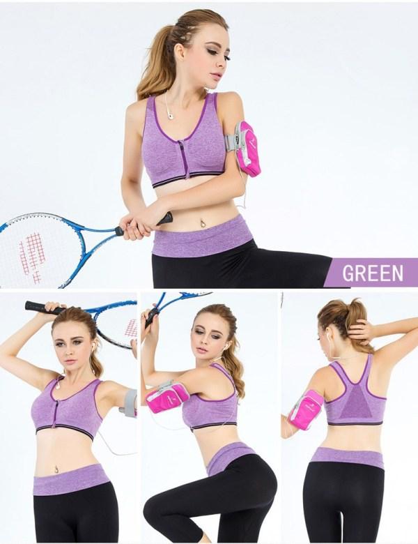 %front zipper purple sports bra