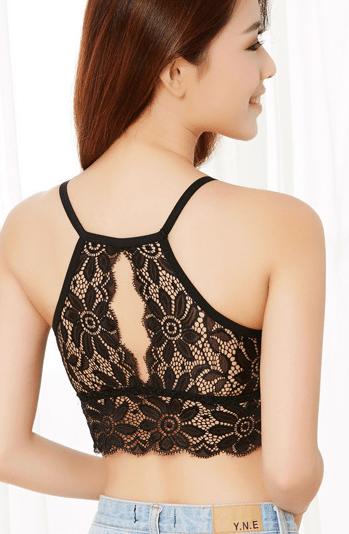 %halter neck black bra crop top