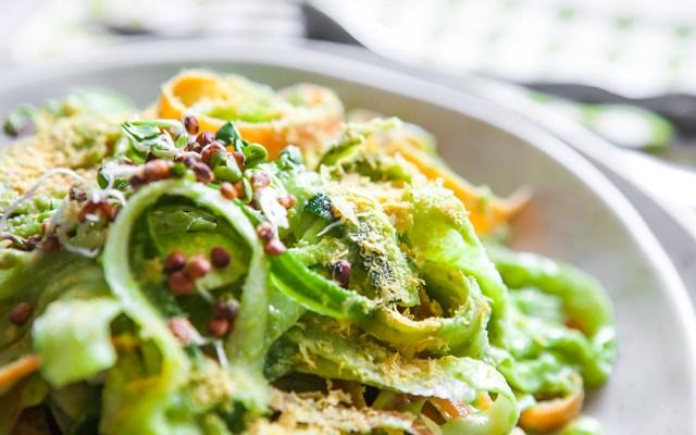 Raw Veggie Fettuccine Alfredo. Vegan, GF recipe.