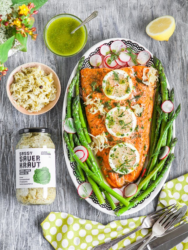 Oven Roasted Salmon With Asparagus And Salsa Verde Christmas Recipe