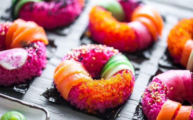 Pink sushi doughnut. Valentine`s day recipe.