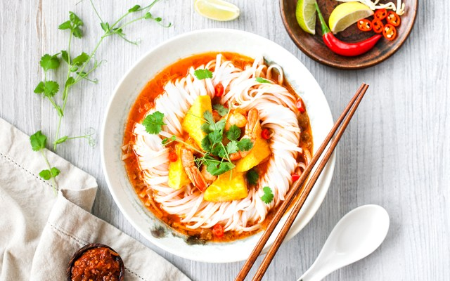 Crispy Tofu and Prawn Spicy Noodle Soup. GF recipe.