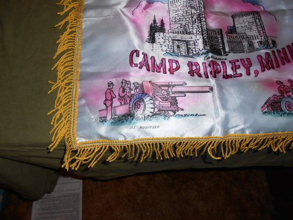 1940's-1950's Camp Ripley, Minn Sweetheart pillow cover