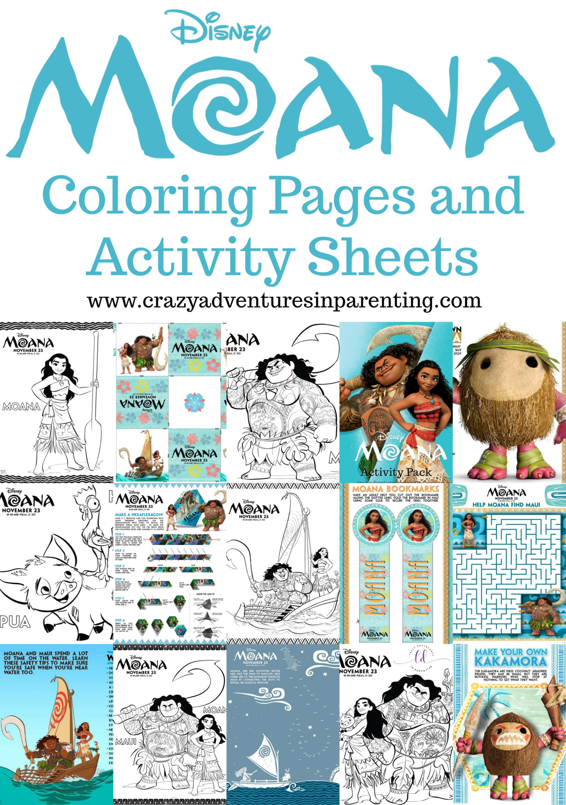 Moana Coloring Pages And Activity Sheets Crazy Adventures In Parenting